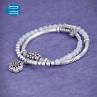 PH7银饰手链女925银双圈银手环甜美海蓝宝转运串珠饰品礼物送女友