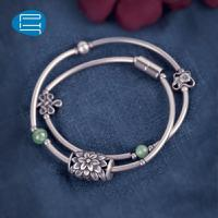 PH7银饰转运串珠银手链女气质复古首饰品双圈银管手环送女友礼物