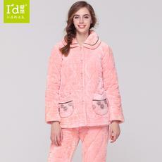 I'd爱帝冬季保暖加厚睡衣女式法兰绒蕾丝夹棉家居服套装
