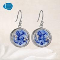 PH7银饰青花瓷饰品耳环女手工牡丹花耳钉女古典气质个性耳饰耳扣