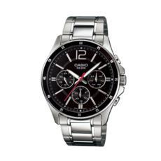 卡西欧手表男 商务防水夜光石英表皮钢带指针手表MTP-1374D-1A