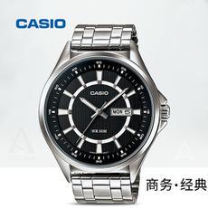 Casio卡西欧商务休闲经典指针皮钢带手表男防水石英男表MTP-E108D-1A