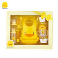 黄色小鸭 勺子叉子围嘴吸管杯练习碗婴儿围兜用品礼盒 330099