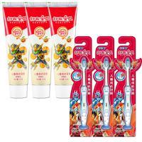 舒客牙膏 3支鲜橙味儿童牙膏+3支儿童软毛牙刷不含氟牙膏牙刷
