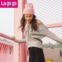 Lagogo/拉谷谷2017冬季新款V领套头针织衫女学院风刺绣毛衣甜美GCMM469C15