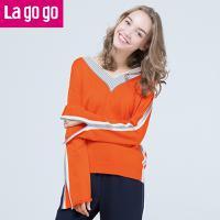 Lagogo2017年秋冬季新款一字领毛衣修身套头上衣V领长袖针织衫女GCMM479Y08