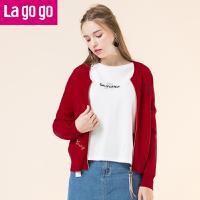 Lagogo2017冬新款圆领撞色织带装饰开衫针织衫女短款毛衣冬装外套GCMM819A20