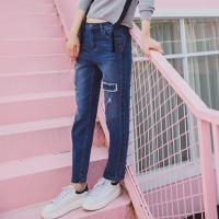 Lagogo2017冬季新款韩版哈伦裤高腰长裤破洞裤子纯色直筒牛仔裤女GCNN519C62