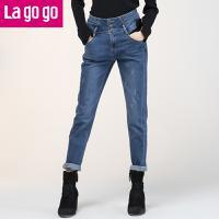 Lagogo2017年秋冬季新款高腰长裤显瘦铅笔裤韩版裤子小脚牛仔裤女GCNN539A50