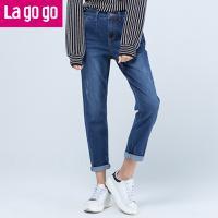Lagogo/拉谷谷2017年秋冬新款简约铅笔裤高腰显瘦小脚牛仔裤女GCNN539A51