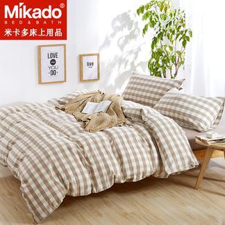 米卡多良品纯色水洗棉四件套无印纯棉简约被套全棉床笠款日式床品