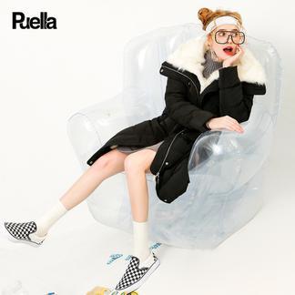 puella2017冬装新款韩版黑色时尚学生修身显瘦中长款过膝a字羽绒服女潮20011256
