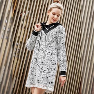 puella白色连帽连衣裙女士2017新款冬装韩国版宽松v领撞色中长款裙子20011274