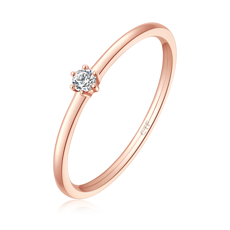 时尚简约18K金钻石戒指