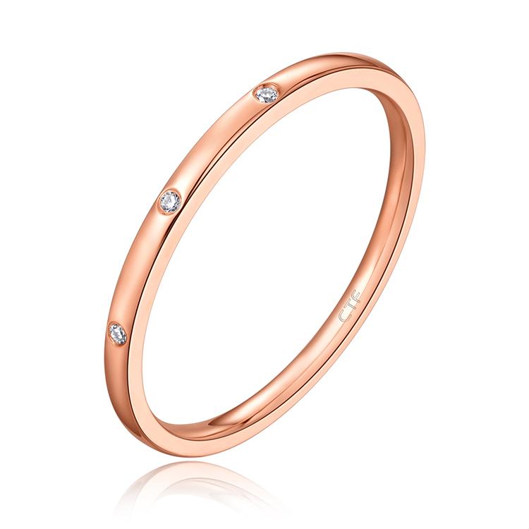 周大福Y时代系列玫瑰色18K金镶钻石戒指