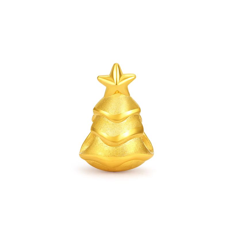 周大福圣诞树黄金足金挂坠