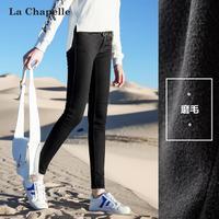 拉夏贝尔黑色紧身裤子拉夏贝尔2017冬季新款修身显瘦铅笔裤时尚牛仔裤女10013386