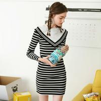 puella 2017冬装新款韩版套头学生条纹修身显瘦百搭长袖短款连衣裙女潮20010720【5.5折】