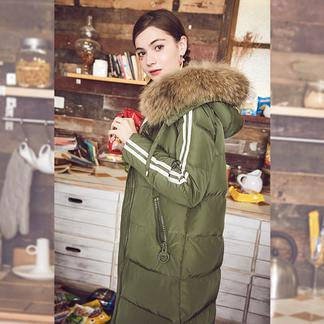 puella明星同款2017冬装新款韩版时尚宽松大毛领加厚中长款过膝羽绒服女20010869