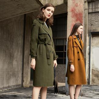 puella明星同款双面呢大衣女士2017新款冬装韩版时尚H型中长款毛呢外套20010881