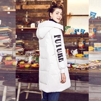 puella中长款羽绒服女2017冬装新款韩版宽松字母印花百搭连帽加厚外套20011048