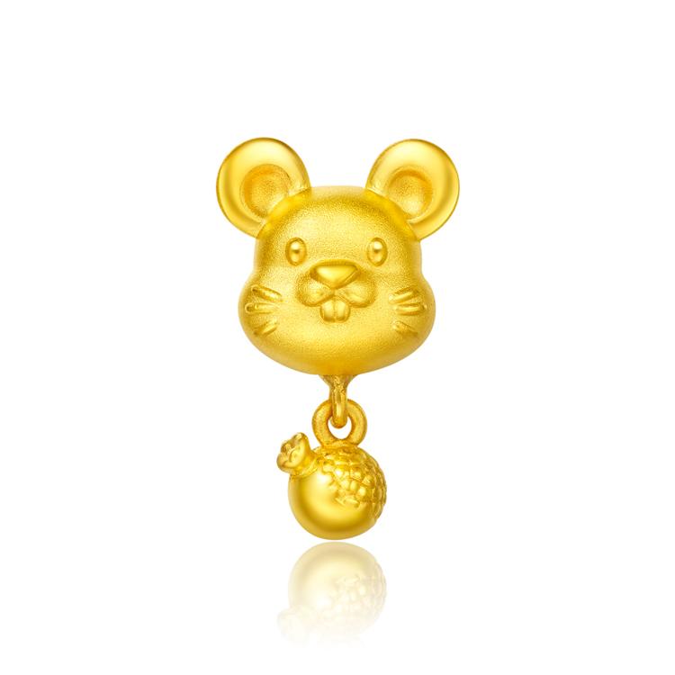 【送皮绳】FOLLOW生肖鼠转运珠足金黄金吊坠