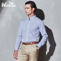 金狐狸男装 男士衬衣长袖韩版修身格子衬衫男 中年男士商务衬衣男 T725281676