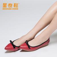 蛋卷鞋 2016新款蛇纹纯色浅口尖头低跟平底鞋时尚简约蝴蝶结单鞋女