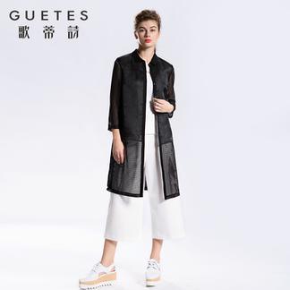 歌蒂诗旗舰店2017春装专柜新品黑色长款雪纺衬衫衬衣女1G113271