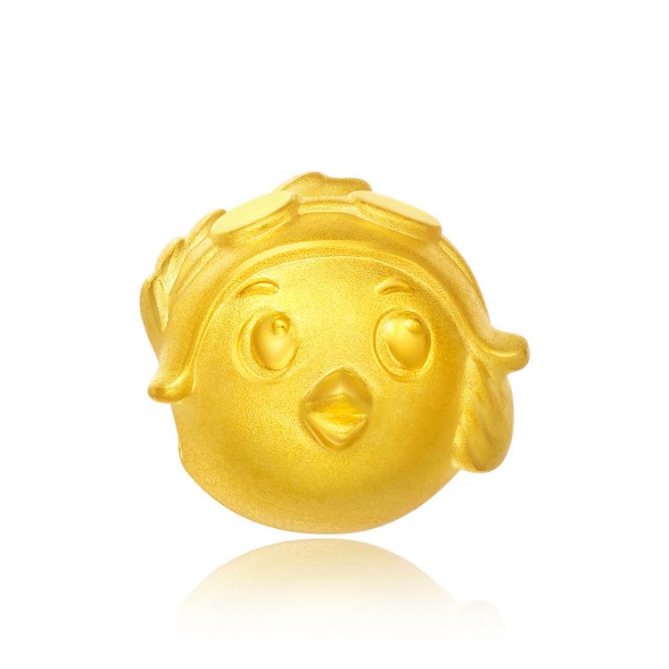 【送皮绳】FOLLOW生肖鸡一飞行鸡足金黄金转运珠吊坠