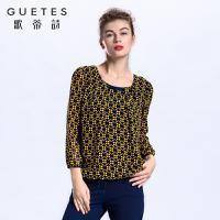 歌蒂诗 2017专柜同步春季新品印花减龄舒适针织小衫1G109529