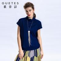 歌蒂诗 2017专柜同步春新品时尚简约短袖针织毛衫1G105576