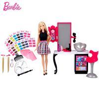 芭比玩具 芭比娃娃套装礼盒 女孩玩具礼物芭比缤纷染发工作室 DLH63【五折特惠】