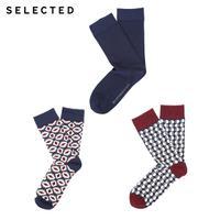 SELECTED思莱德 春季新款微弹棉质印花男袜子三件包 41711Q506
