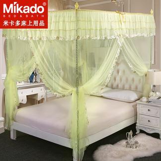 米卡多蚊帐三开门公主风支架落地宫廷方顶1.2米1.5m1.8m床双人床