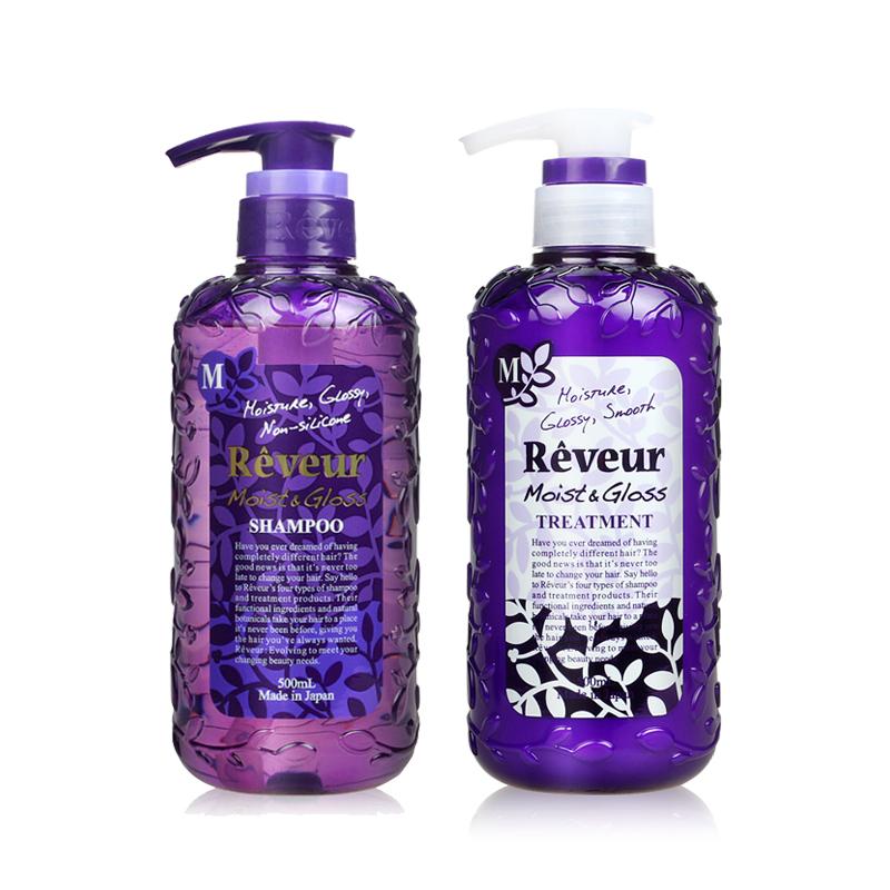日本 Reveur 头皮护理 紫色 无硅洗发水护发素套装 500ml*2