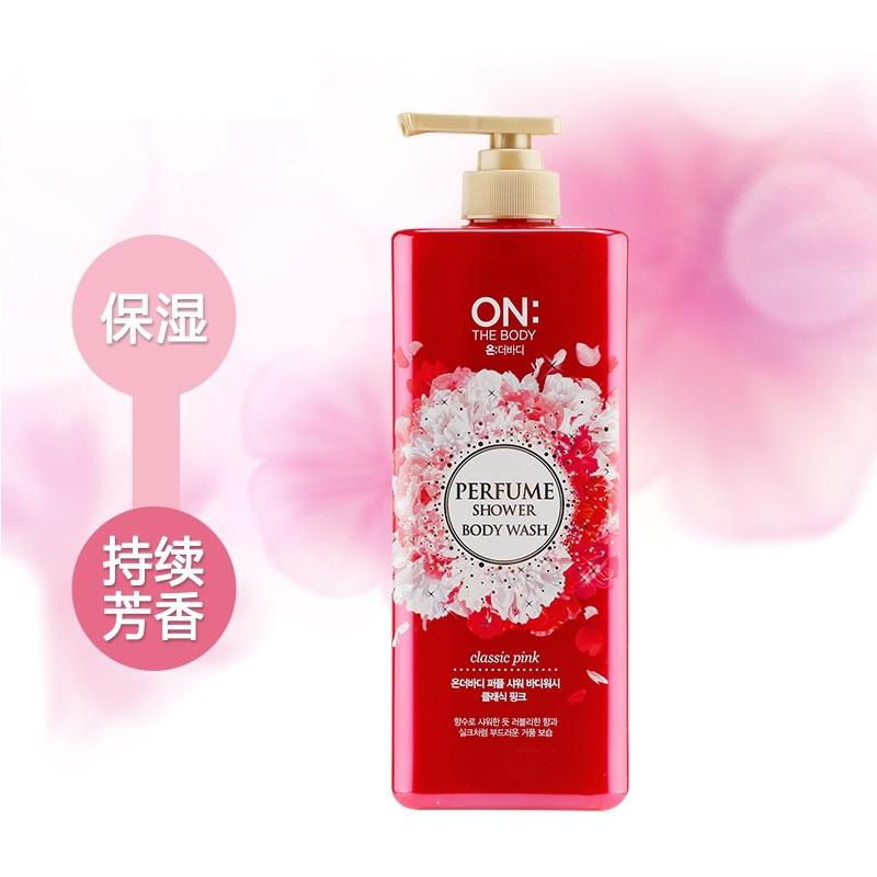 韩国 LG ON THE BODY 经典粉红香水沐浴露 500g 粉红金盖