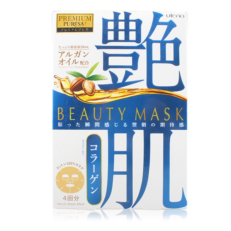 日本 UTENA/佑天兰 PUReSA 白底藍字 坚果油艳肌面膜 胶原蛋白 4片