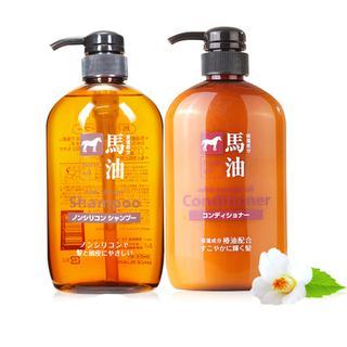 日本熊野马油洗发水 熊野油脂弱酸性马油洗发水+无硅油护发素 组合装包邮包税