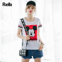 puella2017夏新款迪士尼米奇休闲印花亮片T恤女20009950