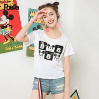 puella2017夏新款迪士尼米奇宽松圆领套头T恤女20009953