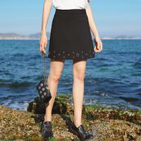 拉夏贝尔2017夏季新款复古短裙黑色a字裙学生半身裙女10012830