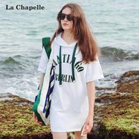 拉夏贝尔2017夏季新款字母五分袖短裙卫衣式裙子连衣裙女10013596