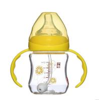 Goodbaby好孩子宽口径握把吸管玻璃奶瓶花朵B80201