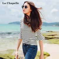 拉夏贝尔2017夏装新款韩版条纹学生上衣微喇中袖t恤女生10013522
