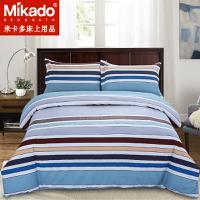 米卡多床上用品纯棉条纹床笠四件套