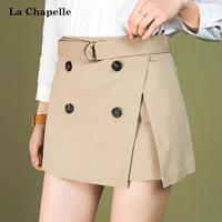 拉夏贝尔2017夏季新款 显瘦纯色高腰直筒裤子休闲短裤女10013272