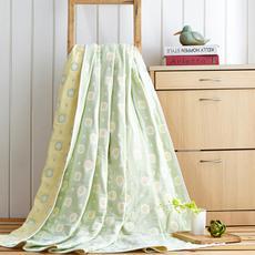 花果果 煎蛋绿六层全棉纱布毯 吸湿透气 柔软透气 经久耐用