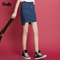 puella普埃拉2017夏装新款前短后长牛仔半身裙女20009664