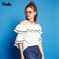 puella普埃拉2017夏新款宽松一字领荷叶边撞色套头衬衫女20010016